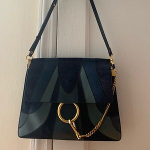 AUTHENTIC Chloe Faye Bag patch work blue suede